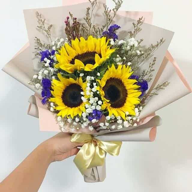 Bó hoa baby trắng cùng hoa hướng dương đẹp nhất