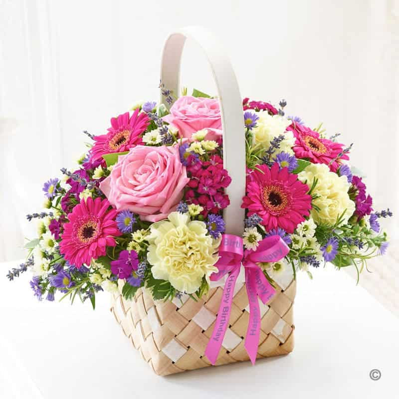 Giỏ hoa cẩm chướng và hoa đồng tiền