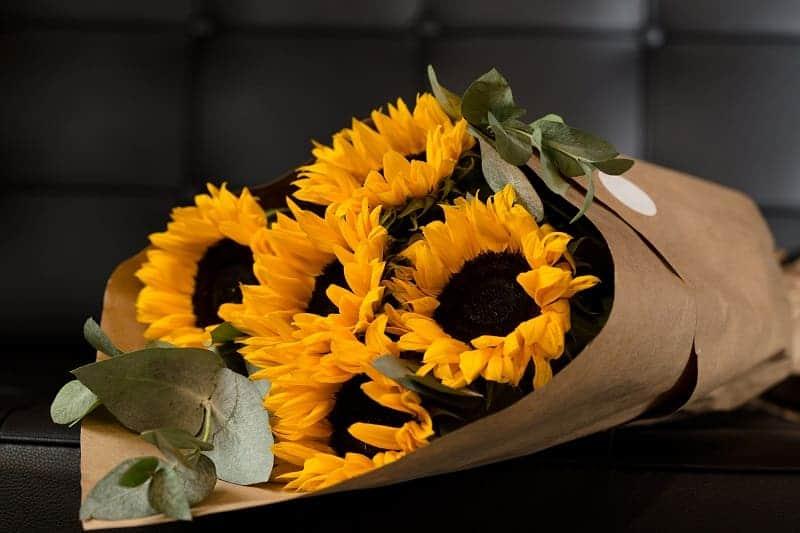 Trao yêu thương qua bó hoa hướng dương cho mẹ